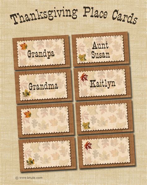 Bnute Productions Free Printable Autumn Place Cards Perfect For Thanksgiving Thanksgiving Place Cards Template