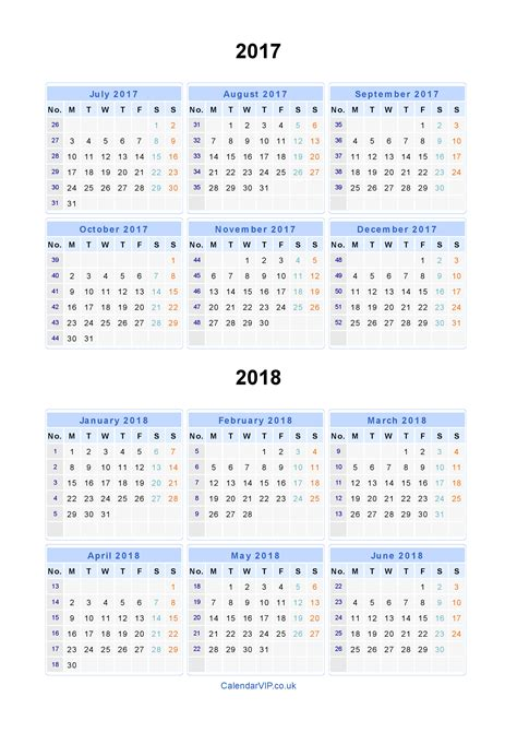 Calendar 2017 And 2018 Uk Split Year Calendars 2017 2018 Calendar From July 2017