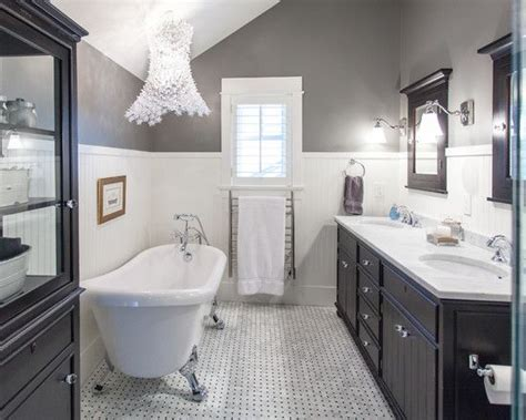 grey and cream bathroom ideas tile wainscot replace dark wood with white and gray