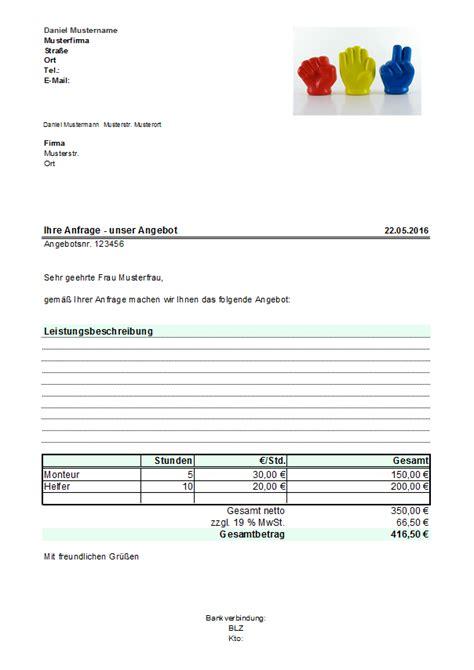 Angebot Vorlage Xls Excel Kostenlose Angebotsvorlagen Office Lernen