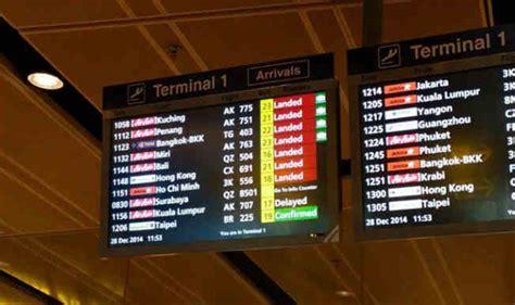 airasia flight status airasia flight qz 8501 missing flight status at changi