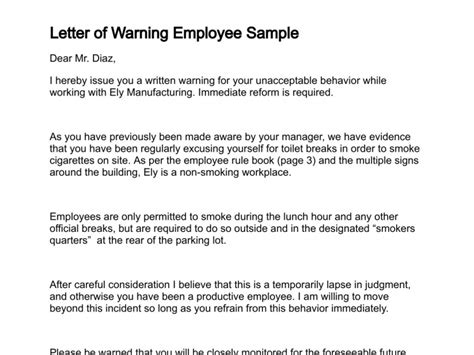 Explanation Letter For Using Abusive Language Letter Of Warning