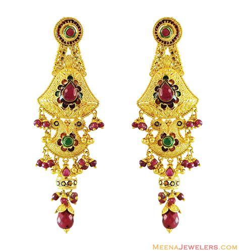 22k gold earrings designs 22k stones filigree earrings erfc12611 22k yellow gold