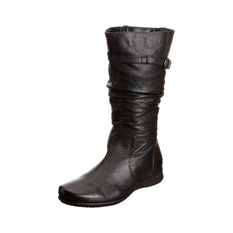 womens padders mid calf boots black leather flat low