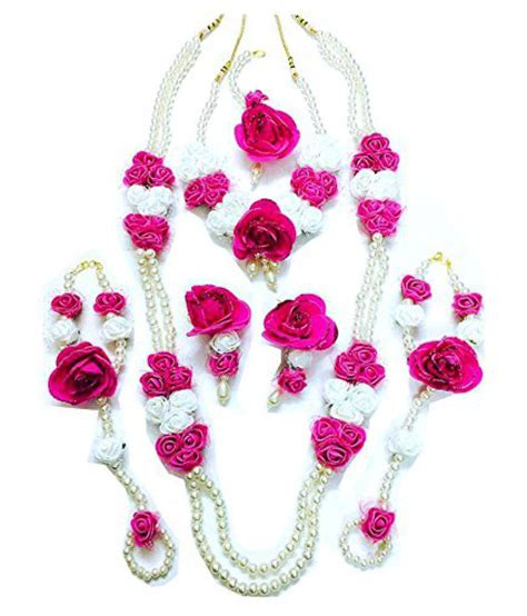 Set Pink Flowery floret jewellery white pink flower jewellery set with 2