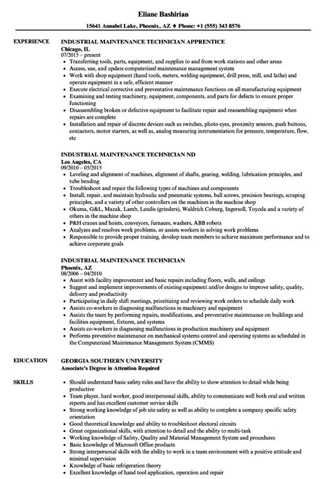 maintenance technician resume format industrial maintenance technician resume sles velvet