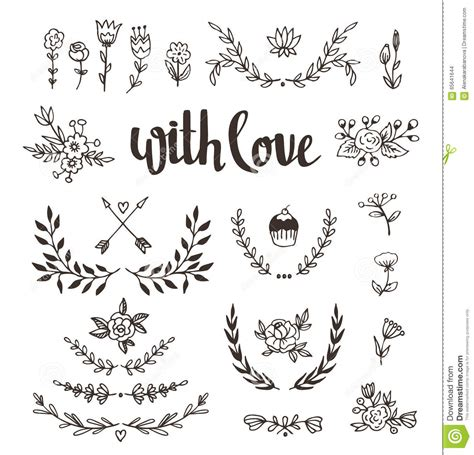Wedding Lettering by Set Isolated Design Elements With Stylish