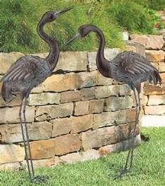 Garden Metal Birds Bronze Crane Pair Metal Garden Statues Mystical Bird Yard