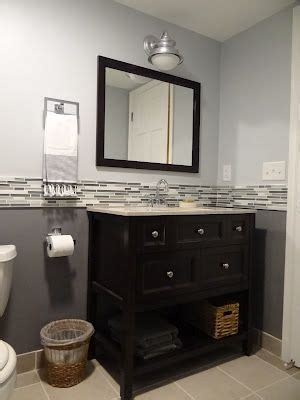 Two Tone Bathroom Color Ideas by Two Tone Paint With Tile Inbetween For The Home