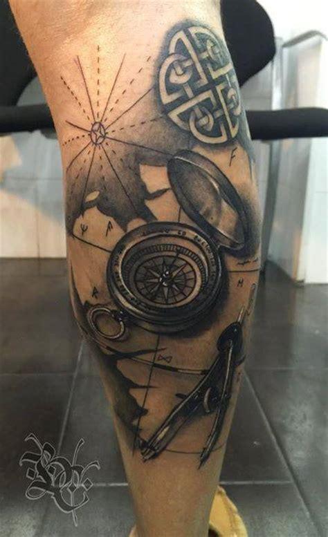 compass  divider tattoo  leg