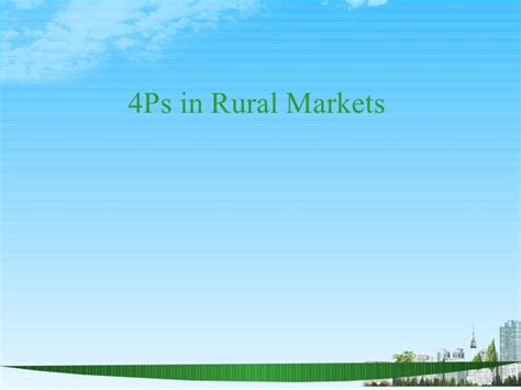 Mba In Rural Management In India by 4 Ps In Rural Markets Ppt Bec Doms Bagalkot Mba