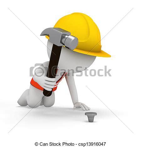 can stock photo clipart dibujos de martillo 3d trabajador gente 3d rendido