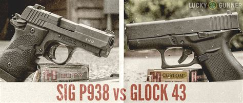 single stack 9mm pistol comparison glock 43 vs sig sauer p938 single stack 9mm comparison