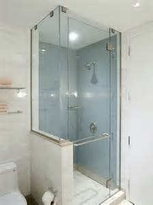 shower with half glass wall interior bathrooms
