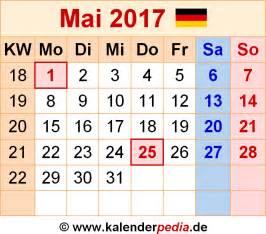 Kalender 2018 April Mai Kalender Mai 2017 Als Excel Vorlagen