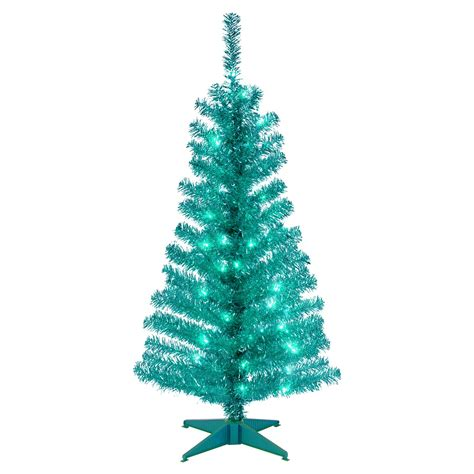 4 ft turquoise tinsel pre lit full christmas tree