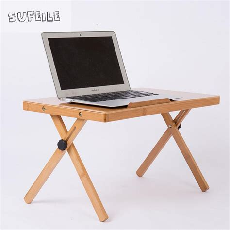 Sufeile Portable Folding Laptop Desk Natural Bamboo Laptop Folding Desk