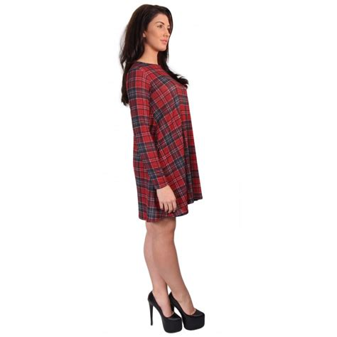 tartan swing dress uk tartan long sleeve swing dress from parisia