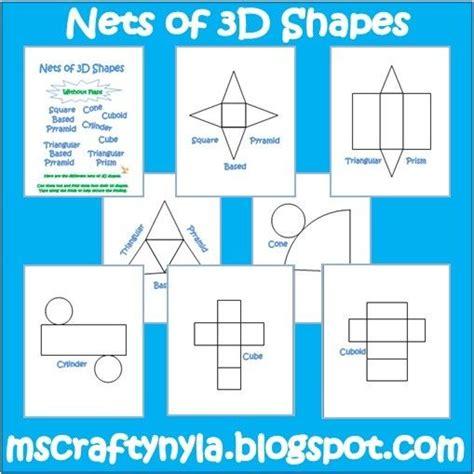 printable 3d net shapes free 3d shape nets printable homeschool math pinterest