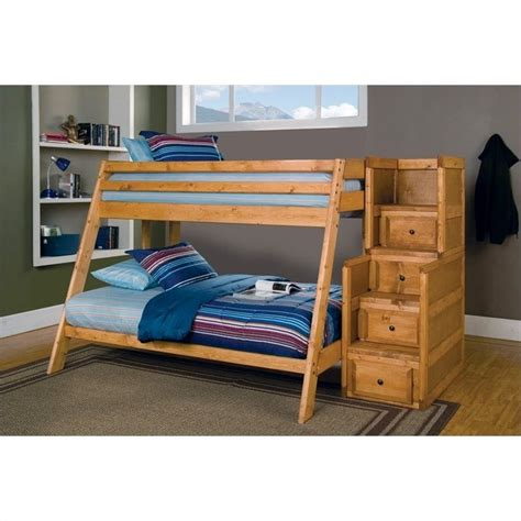twin full bunk bed with stairs coaster wrangle hill twin over full bunk bed with stairs