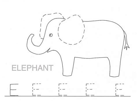 trace letter e for elephant coloring page best place to