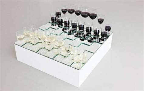Glass Chess Boards by Sophisticated Drink Strategy Games Wine Glass Chess Set