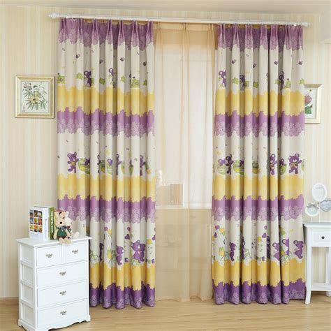 yellow kids curtains cartoon patterns colorful yellow and purple kids curtains