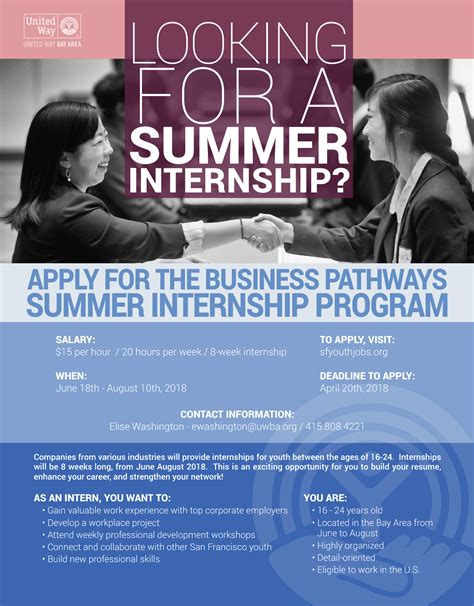 Top Mba Summer Internships 2018 by Business Pathways Summer Internship United Way Bay Area