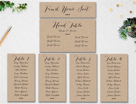 Wedding Seating Chart Card Template by Wedding Seating Chart Template Instant Editable