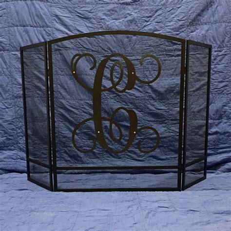 monogram fireplace screen single letter fireplace screen vine font monogram enc