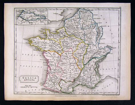 Autentic Gaul 1844 map gallia antiqua ancient gaul ebay