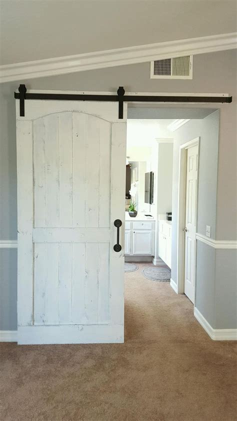 distressed white barn door  hardware   master