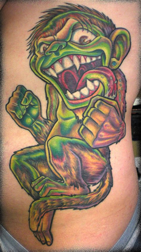new school animal tattoo 2 evil evil monkey new school color bold sexy animal