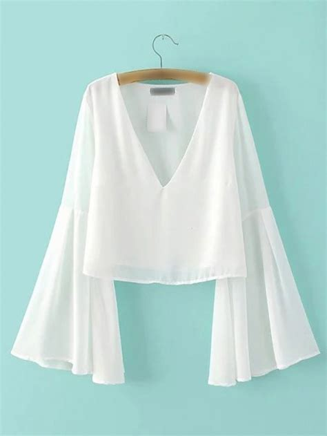 Sleeve V Neck Chiffon Top white bell sleeve v neck chiffon blouse shein abaday