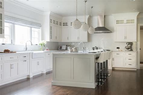White Island Light Gray Kitchen Island With Statuary Marble Countertops Transitional Kitchen