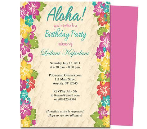 hawaiian wedding invitation templates general birthday aloha hawaiian hibiscus birthday