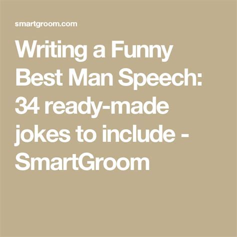 Writing a Funny Best Man Speech: 34 ready made jokes to