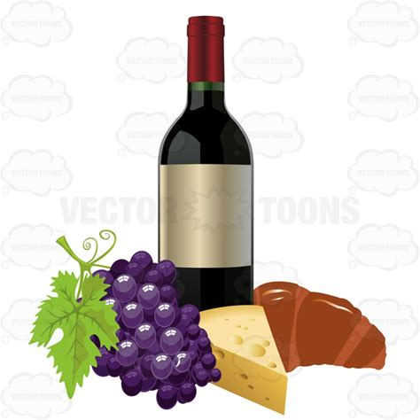 cartoon wine and cheese wine bottle with grapes cheese and a croissant cartoon