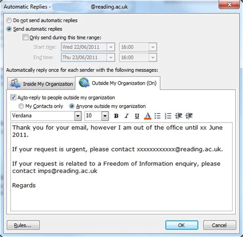 out of office messages university of reading