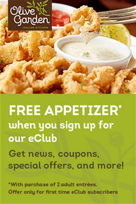 free appetizer at olive garden! common sense with money