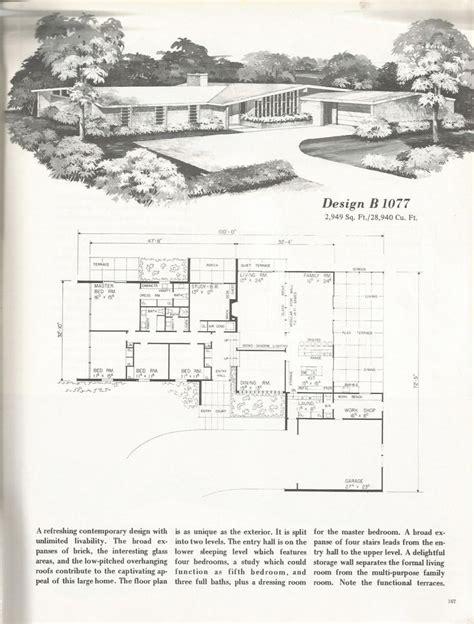 antique house plans vintage house plans 1960s mid century homes
