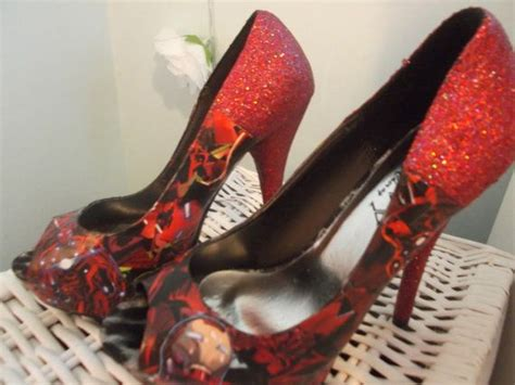 decoupage high heels iron decoupage and glitter high heel platform peep toe