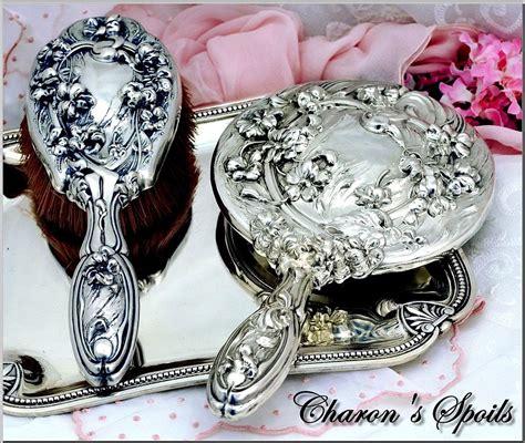 Vanity And Dresser Set by Antique Sterling Silver 2 Pc Vanity Dresser Set La