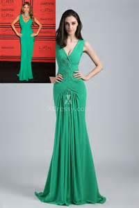 sofia vergara sleeveless v neck green chiffon mermaid