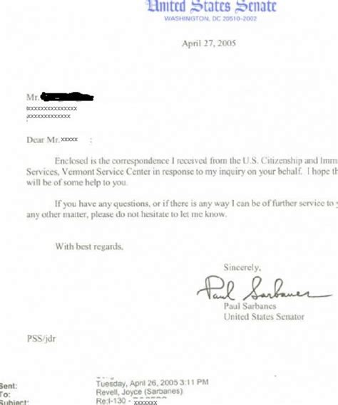 Response Letter To Uscis Letters From Senators Us Pres Craig Ging S Home On The Web