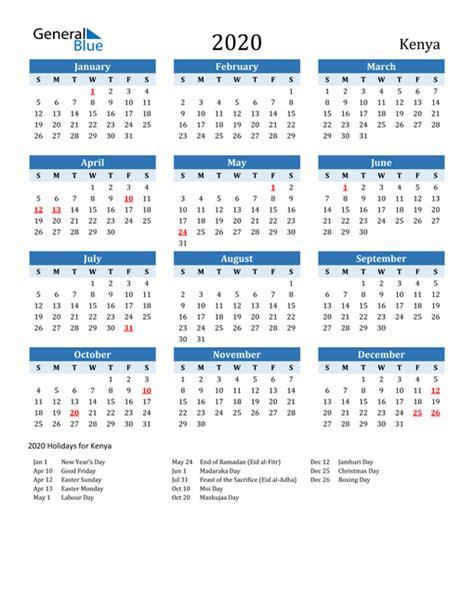 calendar kenya  holidays