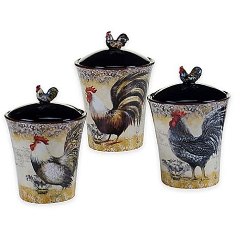 rooster canisters kitchen products certified international vintage rooster 3 piece canister
