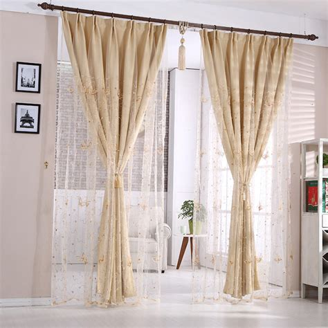 thick sheer curtains solid dark beige polyester thick blackout thermal