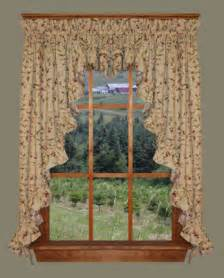 Country Swag Curtains Country Ruffled 3pc Swags Valance Cherry Blossoms Primitive Cottage Curtains Ebay