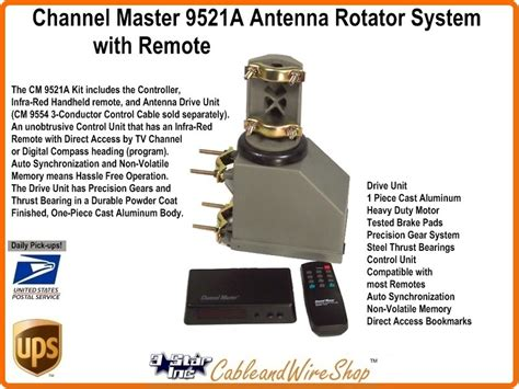 channel master 9521a antenna rotator system with remote